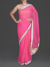 Pink Chiffon Saree With Gold Floral Border - Aastha