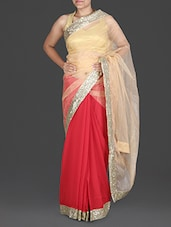 Beige And Red Saree With Sequined Border - By