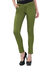 Green Cotton Lycra Pants - By