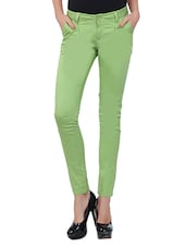 Light Green Cotton Lycra Pants - By