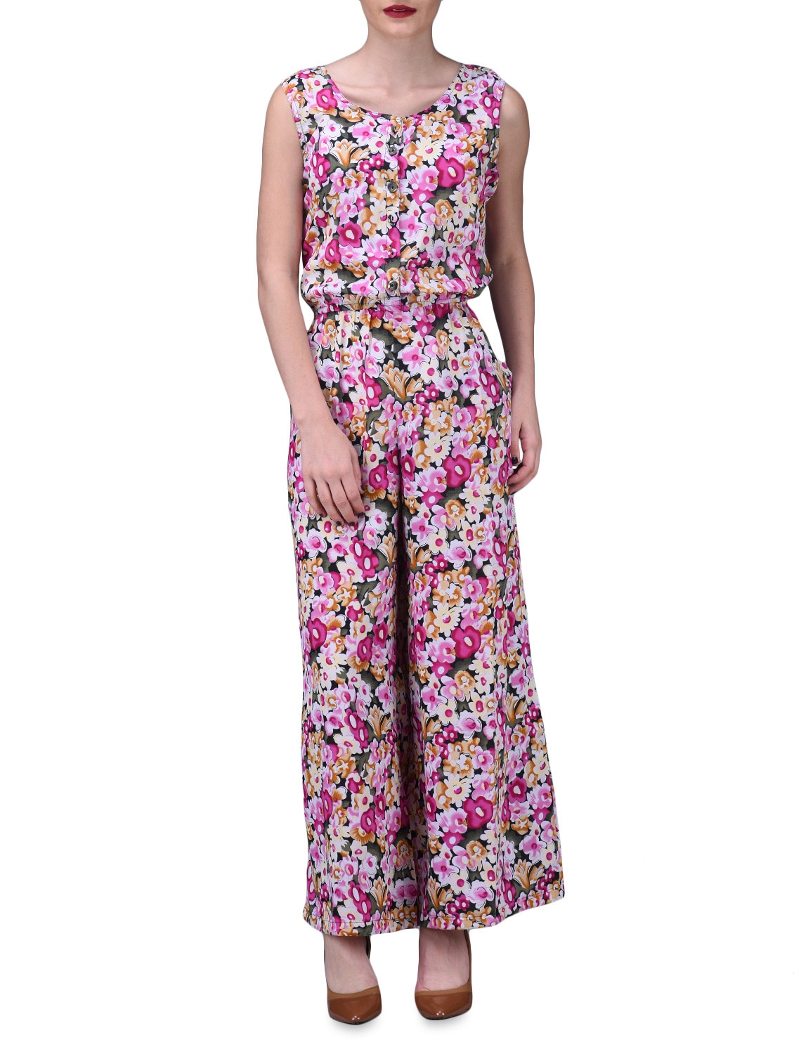 Pink Floral Print Sleeveless Jumpsuit - By