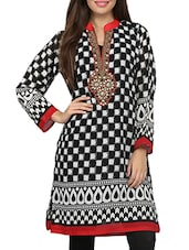 Embellished Black And White Checker Print Kurta - By
