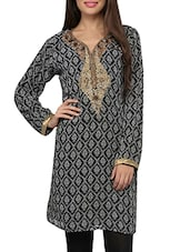 Embellished And Printed Black Kurta - By