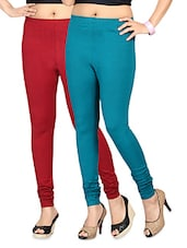 Blue And Maroon Cotton Lycra Leggings Set - By