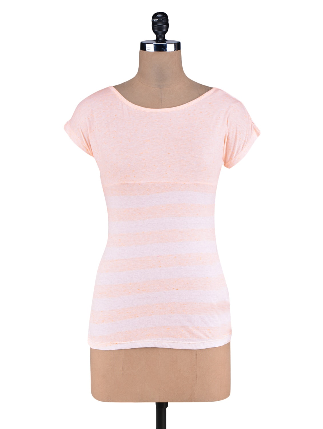 Pink Yarn Dyed Stripes Knitted Cotton Top - By