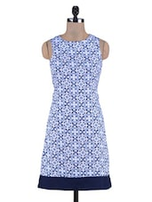 Blue Abstract Printed Poly Crepe Dress - By