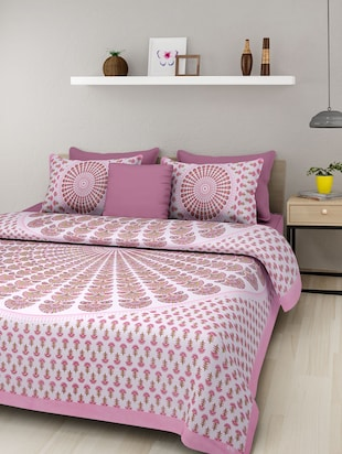 Manasvi Home Jaipuri Double Cotton Printed Bed Sheet With Two Pillow Covers