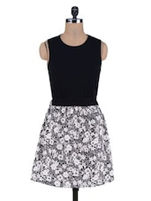 Black Floral Poly Crepe Knitted Cotton Dress - By