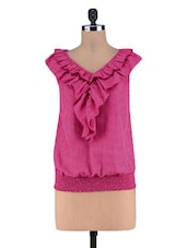 Pink Polka Dots Poly Crepe Layer Top - By