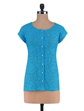 Blue Knitted Cotton  Lace Shirt Top - By