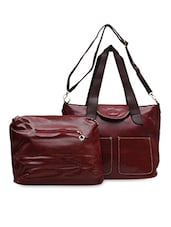 Textured Maroon Leather Tote - Hawai