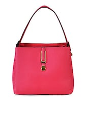 Structured Pink Faux Leather Handbag - Hawai