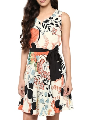 multi colored poly crepe fit & flare dress