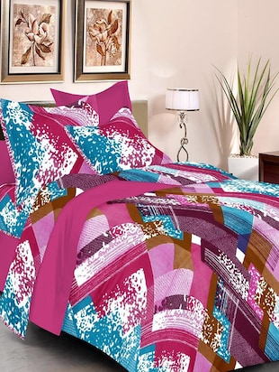 multicolored printed cotton bed sheet set