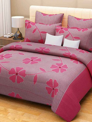 pink floral print cotton bed sheet set -  online shopping for bed sheet sets