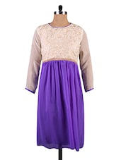Blue Georgette Kurti With Cream Embroidered Yoke - By