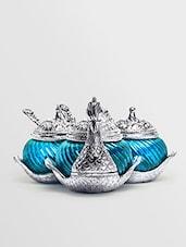 Blue Metallic Triple Duck Bowl - Roshni Creations