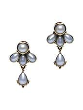 White Semi-precious Stone Embellished Earrings - Roshni Creations
