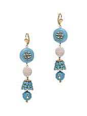 Sky Blue Kundan Work Embellished Dangler Earrings - Roshni Creations