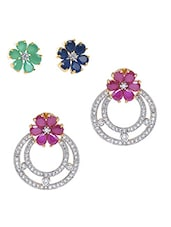 Pink Embellished��changeable Floral Stud With Ruby Earrings - Roshni Creations