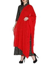 Red Chiffon Crinkled Dupatta - By