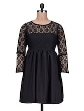 Black Polycrepe  Dress With Lace Detail - By
