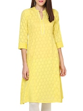 Green Cotton Straight Kurta - By