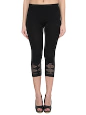 black viscose capri leggings -  online shopping for Capris