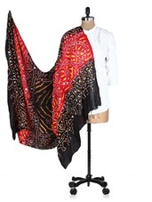 Black And Red Printed Sequined Dupatta - Rajasthani Sarees