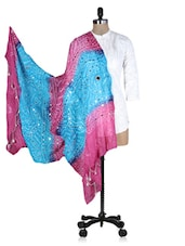 Pink And Blue Printed Sequined Dupatta - Rajasthani Sarees