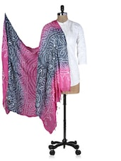 Pink And Grey Printed Sequined Dupatta - Rajasthani Sarees