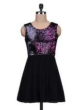 Black Sequined Poly Georgette Dress - By
