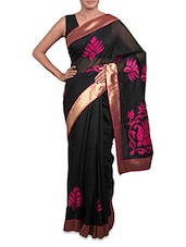 Appliqued Black Cotton Art Silk Saree - By