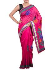 Dark Pink Cotton Art Silk Saree - Prabha Creations