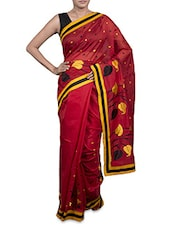 Maroon Embroidered Cotton Art Silk Saree - By
