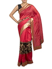 Red Art Silk Embroidered Saree - By