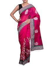 Embroidered Dark Pink Cotton Art Silk Saree - Prabha Creations