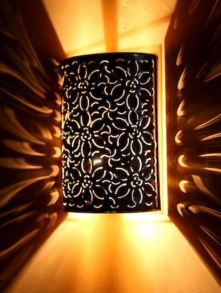 Brown Wall Light with Floral Cutwork