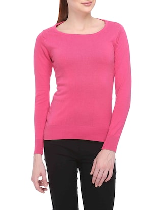 Pink Full-Sleeved Acrylic Sweater