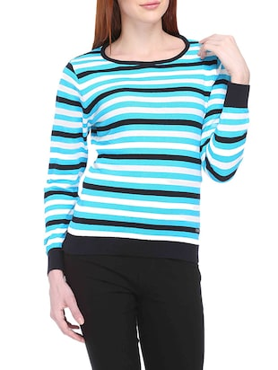 multicoloured Blue Striped Acrylic Sweater