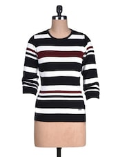Black And White Striped Acrylic Sweater - By