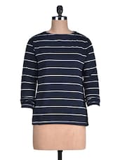 Navy Blue Striped Cotton Fleece Knit Sweatshirt - By