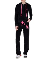 Black Velvet Hooded Tracksuit - By