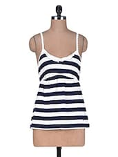 White And Black Striped Cotton Viscose Camisole - By