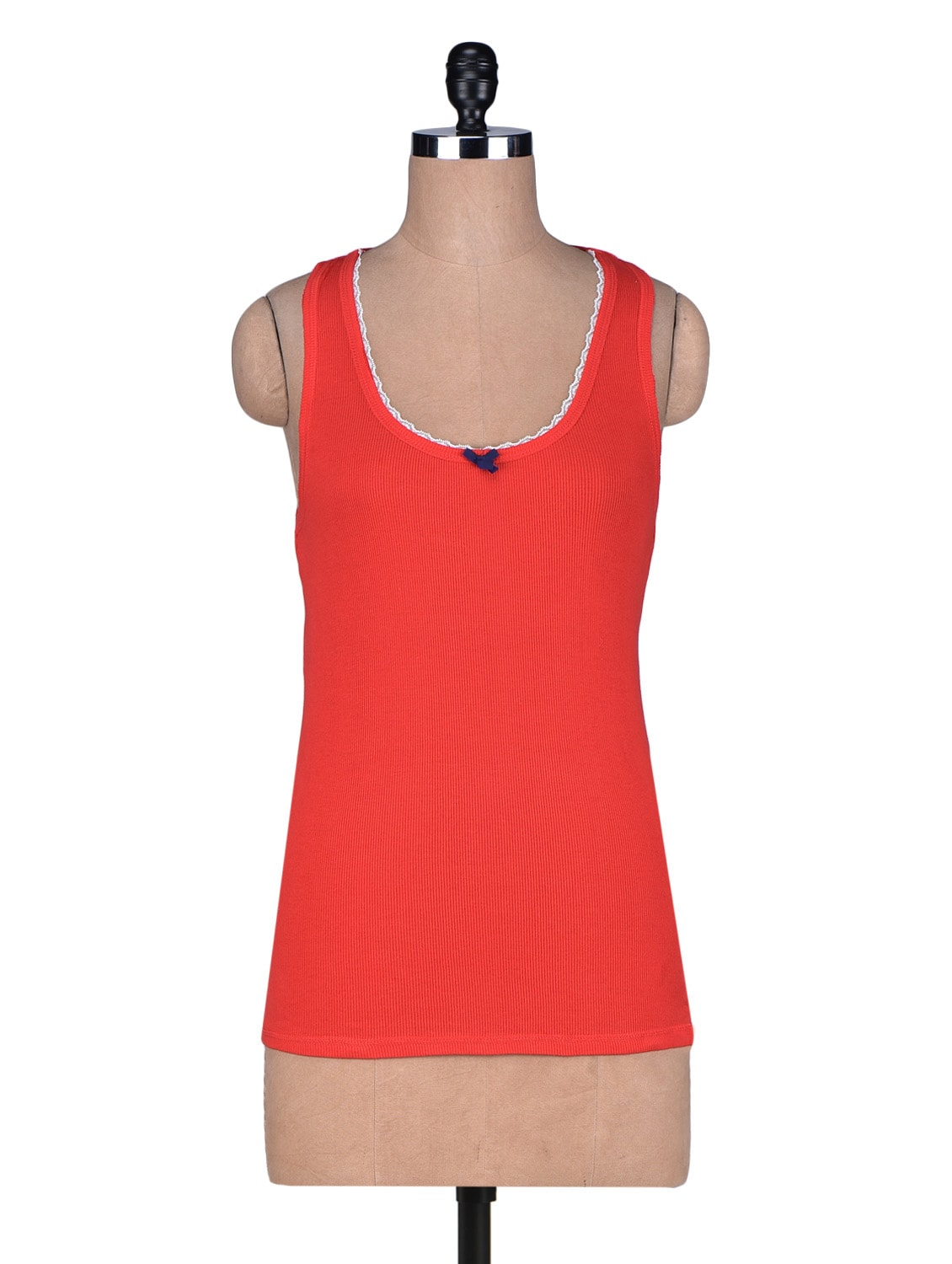 Solid Red Cotton Camisole - By