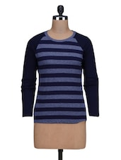 Navy Blue Striped Knitted Cotton T-Shirt - By