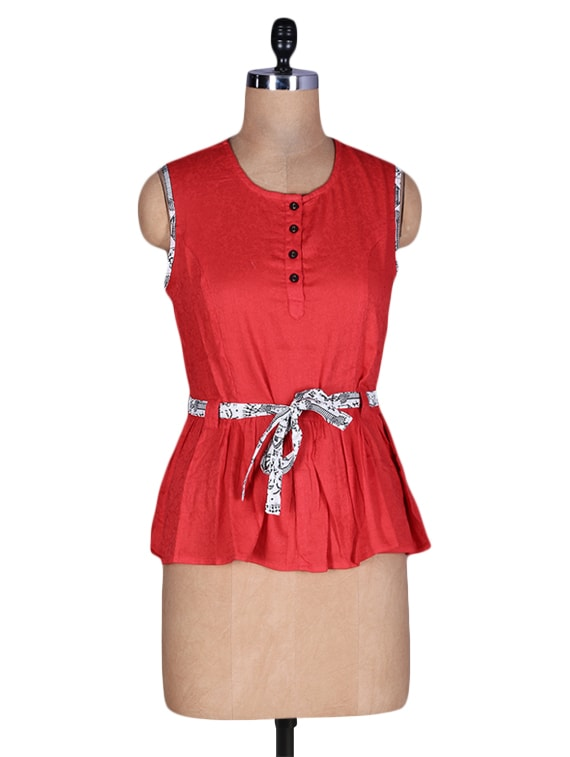 Red Cotton Top With Waist Belt - By