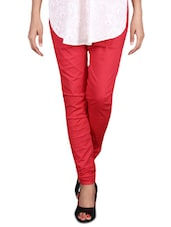 Solid Red Cotton Lycra Churidar - By