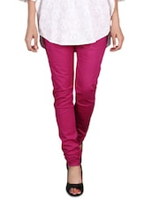 Dark Pink Cotton Lycra Churidar - By