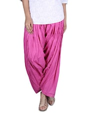 Solid Pink Cotton Patiala - By